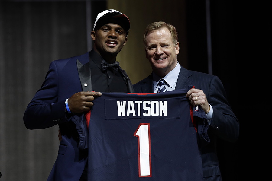 Clemson%27s+Deshaun+Watson%2C+left%2C+poses+with+NFL+commissioner+Roger+Goodell+after+being+selected+by+the+Houston+Texans+during+the+first+round+of+the+2017+NFL+football+draft%2C+Thursday%2C+April+27%2C+2017%2C+in+Philadelphia.+%28AP+Photo%2FMatt+Rourke%29