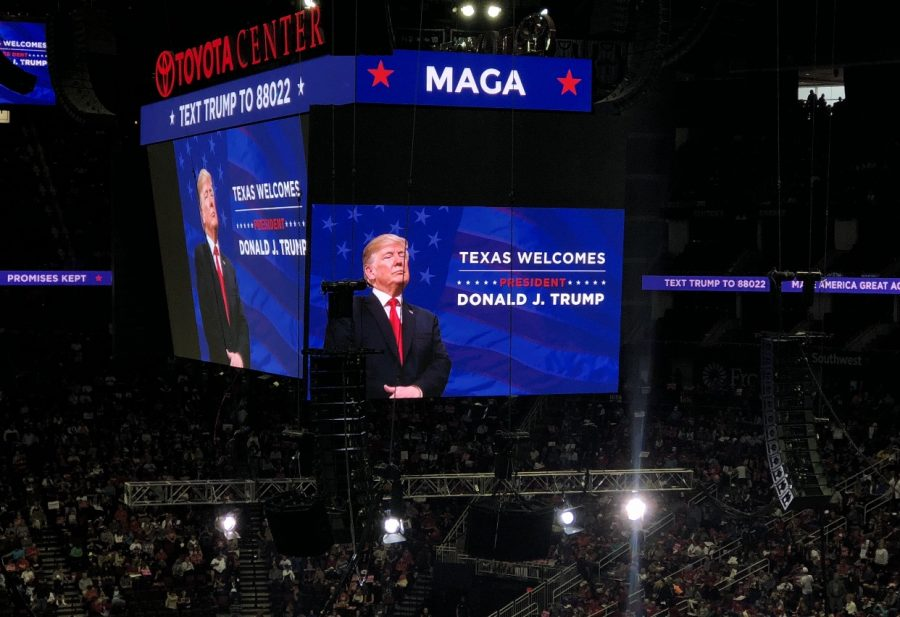 Trump+supporters+could+watch+his+speech+from+any+seat+in+the+Toyota+Center+as+his+image+was+projected+to+the+big+screen.