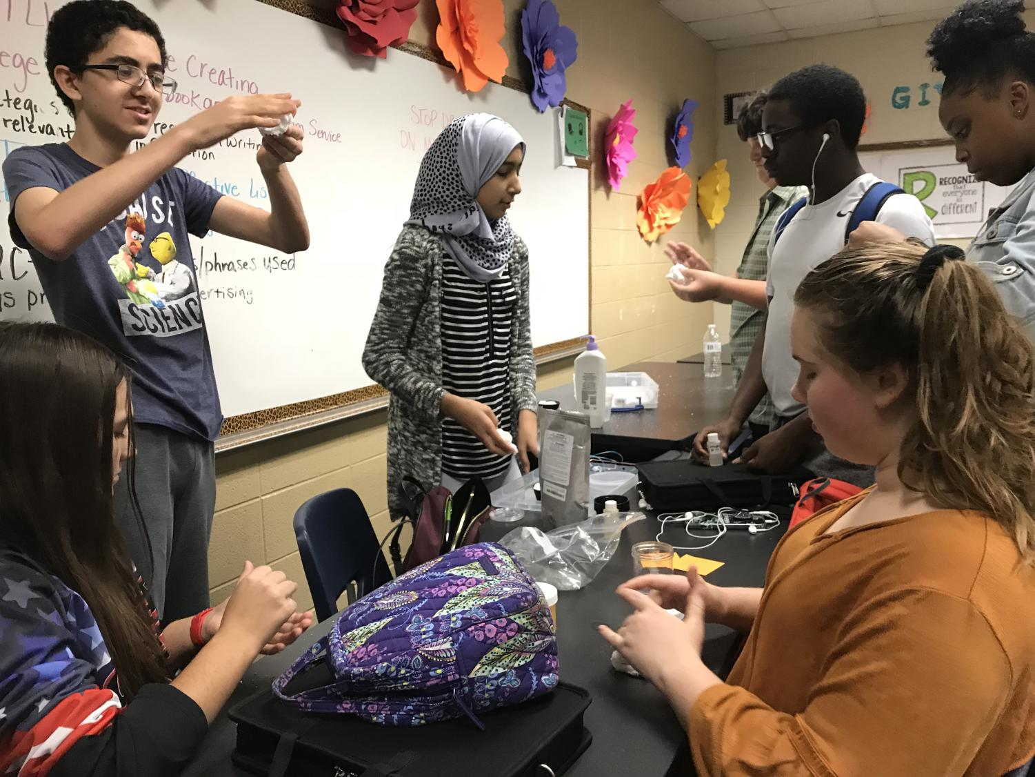 Students create slime as a fun gift for administration.