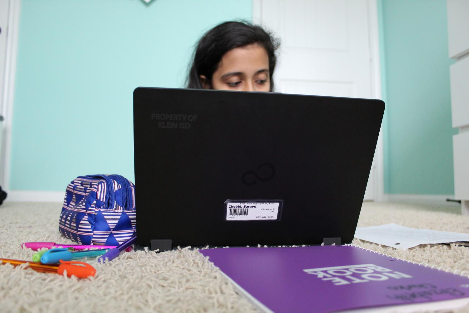 Sophomore Sarayu Chebbi studies hard in the comfort of her home to prepare for upcoming finals.