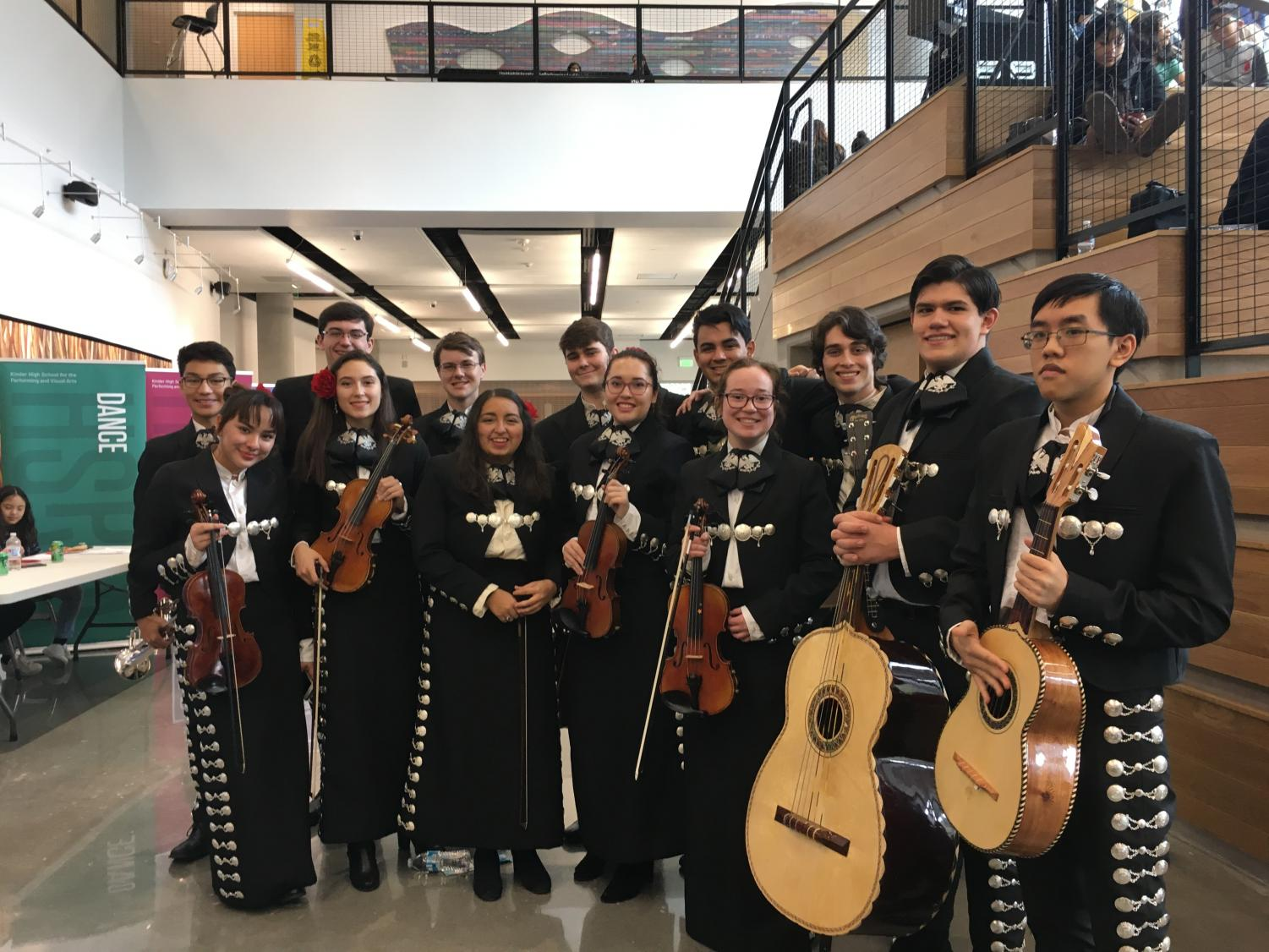 Oak Mariachi ready to go home after competing in Houston for the TAME area contest and qualifying for the State Contest in Dallas.