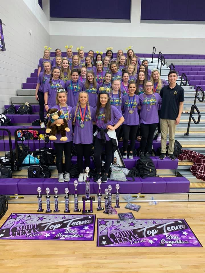 Last weekend at the Miss Dance and Drill Team Texas State Contest at Klein Cain High School, Strutters walked away with several top honors: Tops In Texas for both Team and Officers, State Champ Medium team, Best in Category for all three Officer routines and all three Team routines, Choreography awards for all six routines, Best in Technique-Jazz, medium duet winners, five solo finalist, and two Miss Photogenic winners!