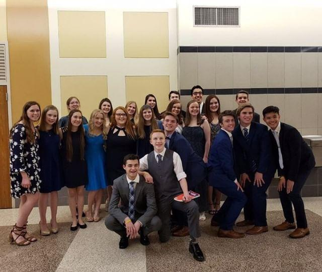 The UIL Theatre Team poses for a picture after their performance. 1st row(Left to right): Dylan Delgatto, Hayden Olds 2nd row: Makenna Llamm, Lauren Clarke, Cassidy Stanley, Madeline Austin, Katelyn Corrigan, Abigail Reed, Katie Fisher, Lizzy Cooper, Ava Bryant, Aaron Kersey, Luke Sexton, Timothy Thomas, Dharius Daduya 3rd row: Caroline Knight, Rachel Lynch, Ashley Ryland, Adrianna Brasher, Mason Hunter, Andrew Kusman, Blaine Weigand