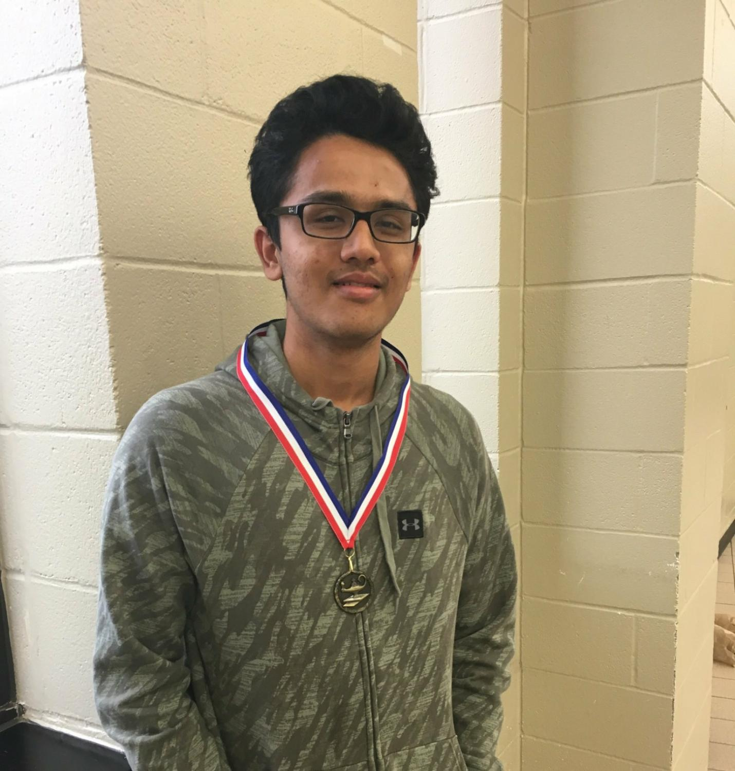 Hriman Shah won 1st place at a UIL practice meet at The Woodlands High School in February.