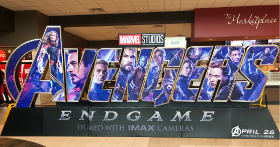 On opening weekend, the 3D advertisement for Endgame was the main attraction  in the lobby.