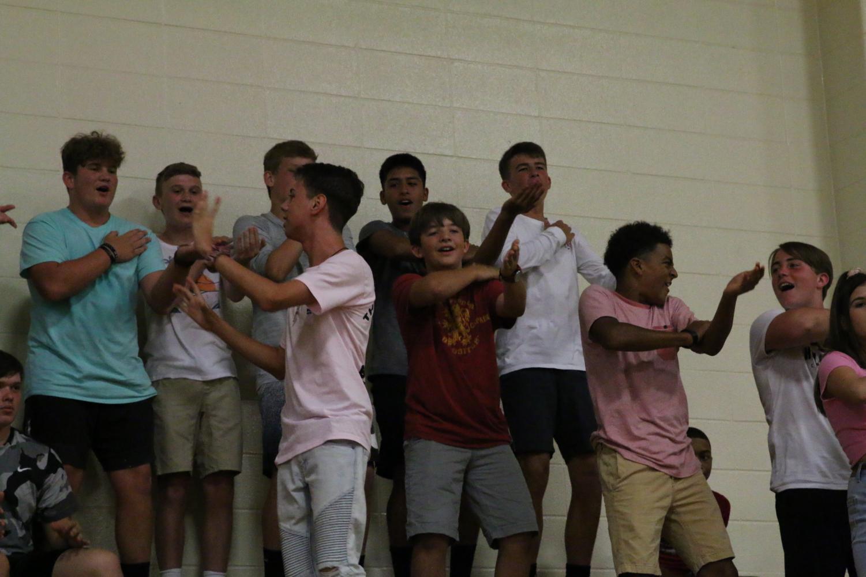 Sebastian Watson fearlessly leads freshman dancers.