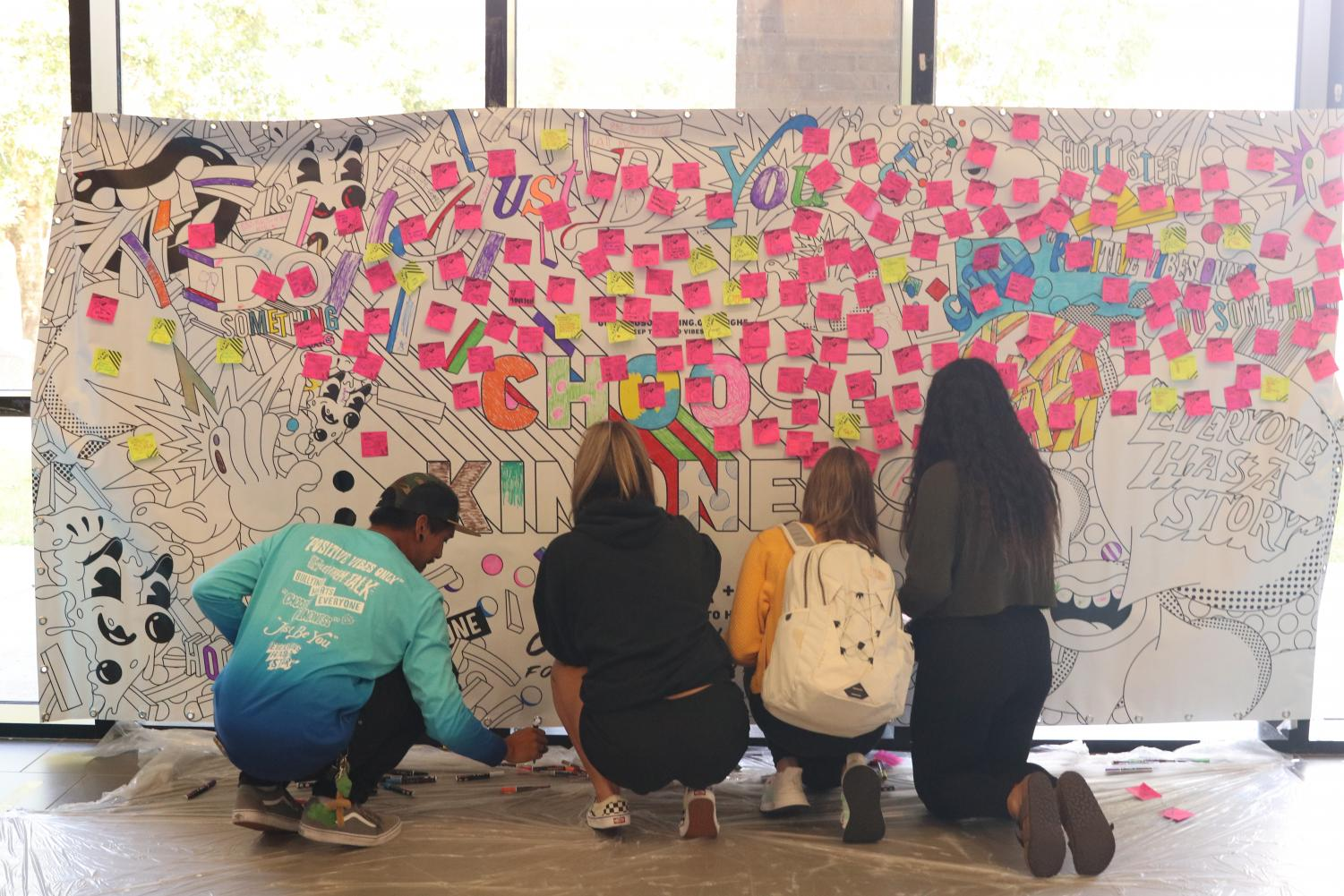 The High School Nation poster displays positive bright messages for people to put on and take.