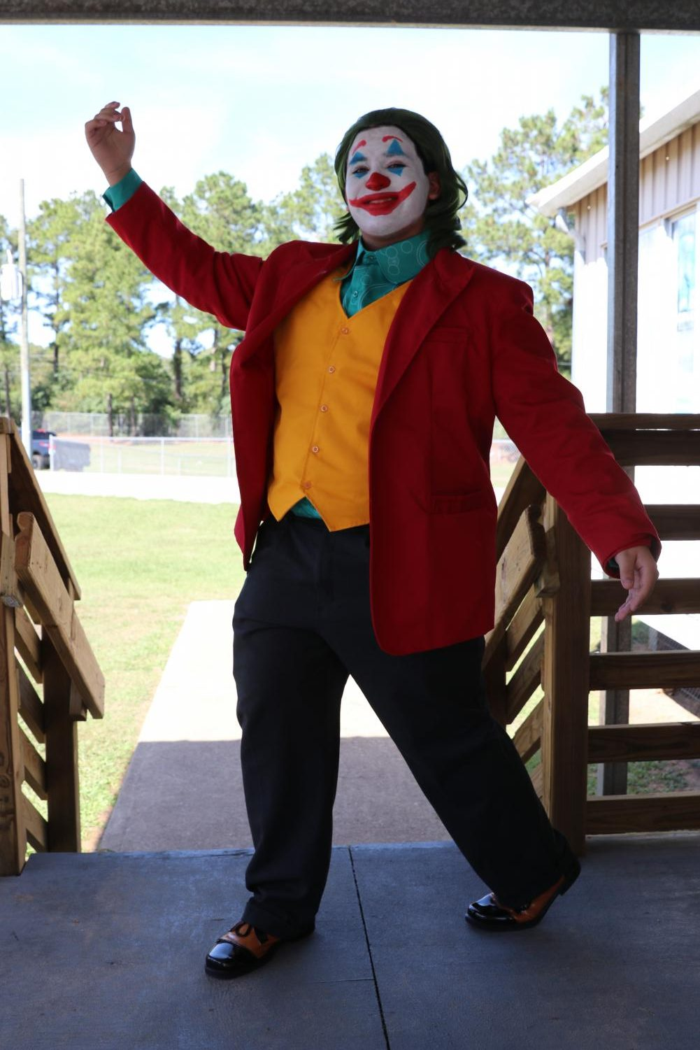 Bringing the Joker to life at Klein Oak, junior Trey Munoz emulates the classic pose.