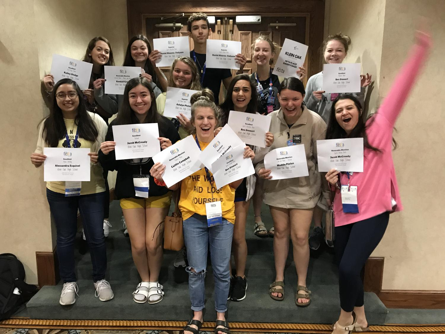 Yearbook and Newspaper staffs proudly present their awards at the end of the Fall Fiesta TAJE State convention.