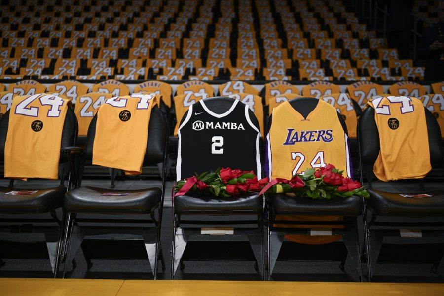 The jersey of late Kobe Bryant, to the right, and Gianna Bryant,to the left. on the seats they last sat on at the Staples Center.