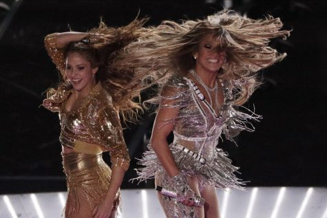 Zealous performers Shakira and J.Lo strike a pose during their Feb 2 Super Bowl halftime performance. The artists