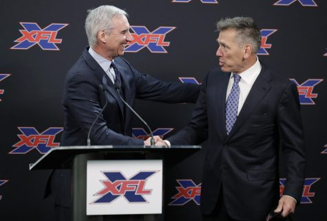 XFL Commissioner Oliver Luck and Seattle Dragons Head Coach Jim Zorn meet to discuss Zorn