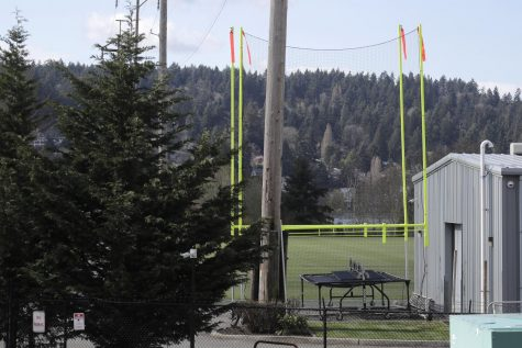 Goal posts and other training equipment sit idle at the Seattle Seahawks