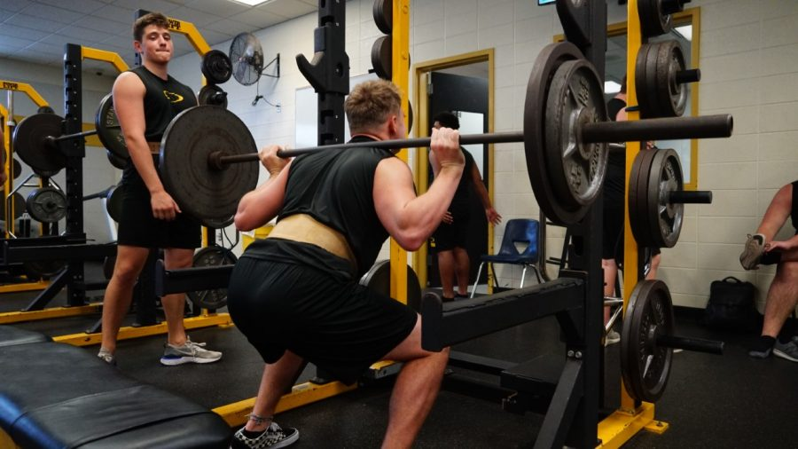 On the last day of school before spring break which ultimately turned into the last day of classes on campus, football players like junior Nathan Grychka were maxing out in the weight room. Spring sports ended almost as soon as they started and football's spring game was cancelled.