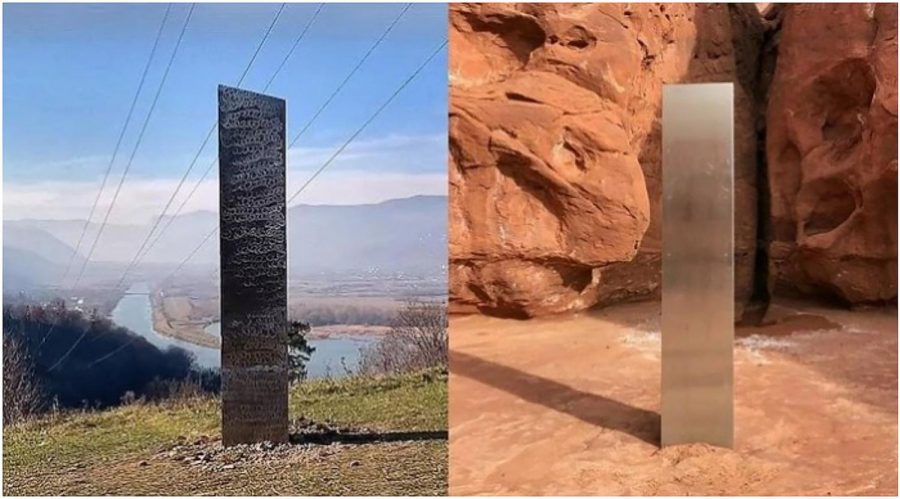 The first monolith, on the right, was first found in the middle of the desert in Utah. After it made news, it was gone. Eventually, after theories were being made on why it was there in the first place circled the internet, the same monolith made several appearances around the world as seen on the picture on the left. The question is still remaining about the origin, appearance and disappearance of this monument.