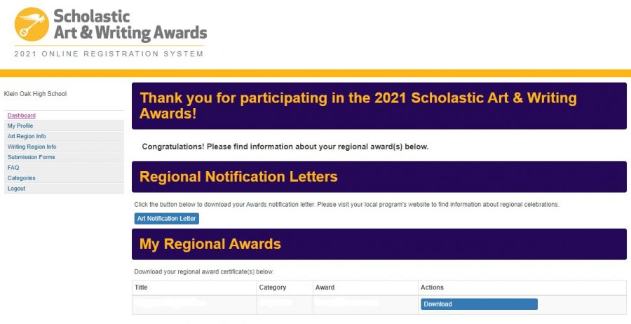 Students from all around the region logged into their Scholastics Art and Writing Dashboard to view their results, to which a handful of Klein art students saw their artwork receive an award.