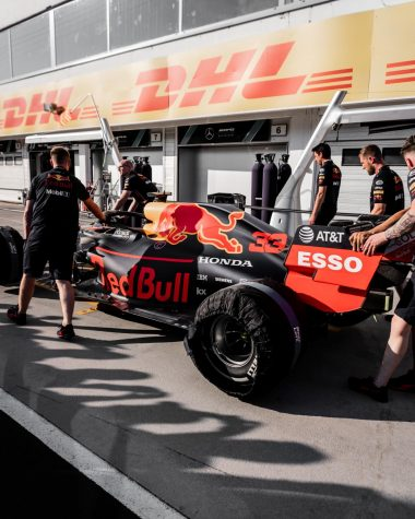The cockpit crew prepares to work on the fan favorite Red Bull car. The Formula 1 World Championship races occur in different cities across the globe between March and December.